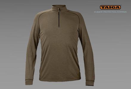 bluza polo półgolf CLIFTON-bielizna-termoaktywna-trudnopalna-TAIGA-oliwka