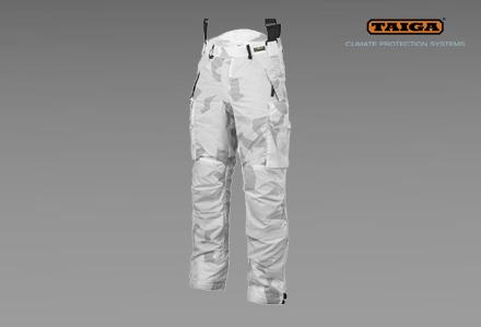 Zimowe spodnie CPA w kamuflażu śnieżnym TSUP firmy TAIGA